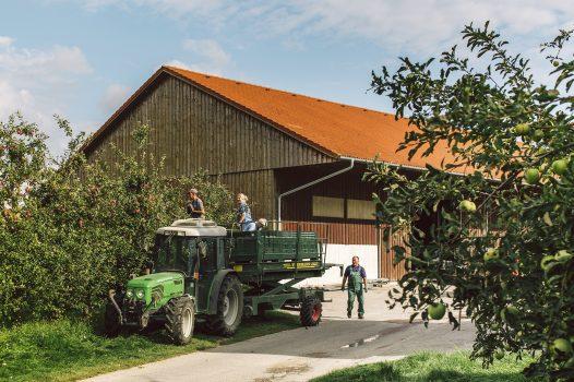 mitarbeiter auf traktor